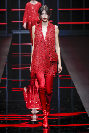 MILAN, ITALY - FEBRUARY 21: A model walks the runway at the Emporio Armani show at Milan Fashion Week Autumn/Winter 2019/20 on February 21, 2019 in Milan, Italy. Editorial