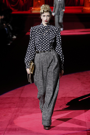 MILAN, ITALY - FEBRUARY 24: A model walks the runway at the Dolce and Gabbana show at Milan Fashion Week Autumn/Winter 2019/20 on February 24, 2019 in Milan, Italy.