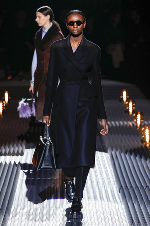 MILAN, ITALY - FEBRUARY 21: A model walks the runway at the Prada show at Milan Fashion Week AutumnWinter 201920 on February 21, 2019 in Milan, Italy.