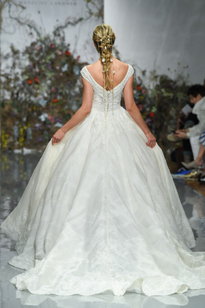 NEW YORK, NY - APRIL 11: A model walks the runway during the Morilee by Madeline Gardner Spring 2020 bridal fashion show at New York Fashion Week: Bridal on April 11, 2019 in NYC.