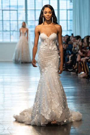 NEW YORK, NY - APRIL 12: A model walks the runway  during the Berta Bridal Spring 2020 fashion collection at New York Fashion Week: Bridal on April 12, 2019 in NYC.