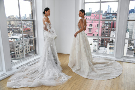 NEW YORK, NY - APRIL 15: Models posing during the Ines Di Santo Spring 2020 bridal fashion presentation at New York Fashion Week: Bridal on April 15, 2019 in NYC.