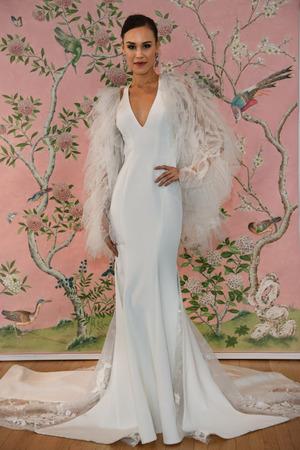 NEW YORK, NY - APRIL 15: A model posing during the Ines Di Santo Spring 2020 bridal fashion presentation at New York Fashion Week: Bridal on April 15, 2019 in NYC.