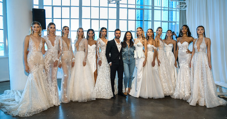 NEW YORK, NY - APRIL 12: Nir Moscovich, Berta Balilti and models posing backstage before the Berta Bridal Spring 2020 fashion show at New York Fashion Week: Bridal on April 12, 2019 in NYC.