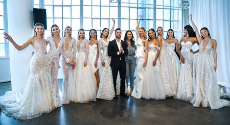 NEW YORK, NY - APRIL 12: Nir Moscovich, Berta Balilti and models posing backstage before the Berta Bridal Spring 2020 fashion show at New York Fashion Week: Bridal on April 12, 2019 in NYC.