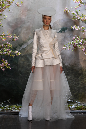 NEW YORK, NY - APRIL 11: A model walks the runway  during the Phuong My Spring 2020 fashion collection at New York Fashion Week: Bridal on April 11, 2019 in NYC.