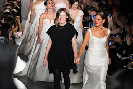 NEW YORK, NY - APRIL 12: Margo Lafontaine and models  walk the runway  finale during the Amsale Bridal Spring 2020 fashion collection at New York Fashion Week: Bridal on April 12, 2019 in NYC. Publikacyjne