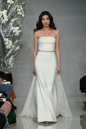 NEW YORK, NY - APRIL 11: A model walks the runway during the Theia Spring 2020 fashion collection at New York Fashion Week: Bridal on April 11, 2019 in NYC.