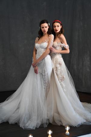 NEW YORK, NY - APRIL 14: Models posing during Galia Lahav Spring 2020 bridal fashion presentation at New York Fashion Week: Bridal on April 14, 2019 in NYC. Publikacyjne