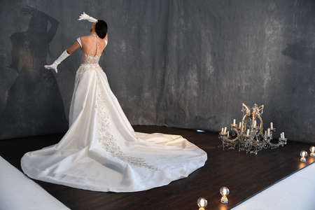NEW YORK, NY - APRIL 14: A model posing during Galia Lahav Spring 2020 bridal fashion presentation at New York Fashion Week: Bridal on April 14, 2019 in NYC.
