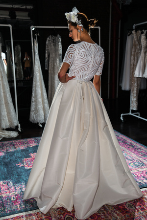 NEW YORK, NY - APRIL 16: A model posing during Naeem Khan Spring 2020 bridal fashion presentation at New York Fashion Week: Bridal on April 16, 2019 in NYC.