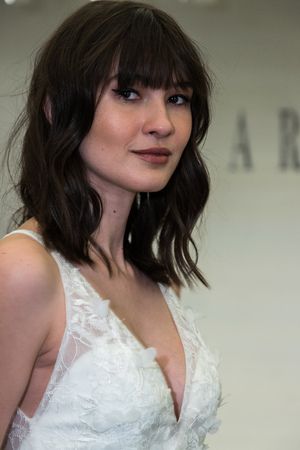 NEW YORK, NY - APRIL 12: A model posing during Lazaro  Spring 2020 bridal fashion presentation at New York Fashion Week: Bridal on April 12, 2019 in NYC. Editorial