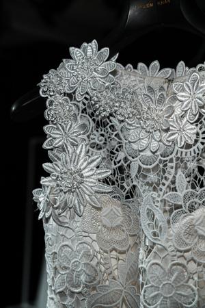 NEW YORK, NY - APRIL 16: Dresses on hangers during Naeem Khan Spring 2020 bridal fashion presentation at New York Fashion Week: Bridal on April 16, 2019 in NYC.