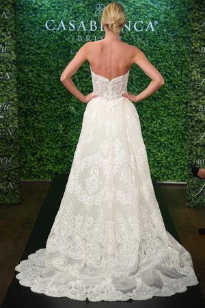 NEW YORK, NY - APRIL 15: A model posing during the Casablanca Spring 2020 bridal fashion presentation at New York Fashion Week: Bridal on April 15, 2019 in NYC.