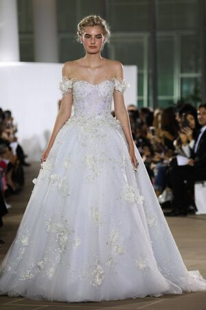 NEW YORK, NY - OCTOBER 5: A model walks the runway during the Ines Di Santo Fall 2020 Bridal Runway Show on OCTOBER 5, 2019 in New York City.