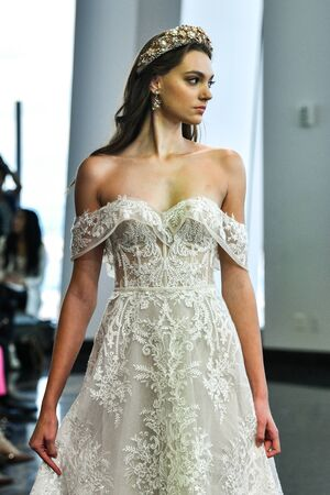 NEW YORK, NY - OCTOBER 5: A model walks the runway during the Berta Fall 2020 Bridal Runway Show on OCTOBER 5, 2019 in New York City.
