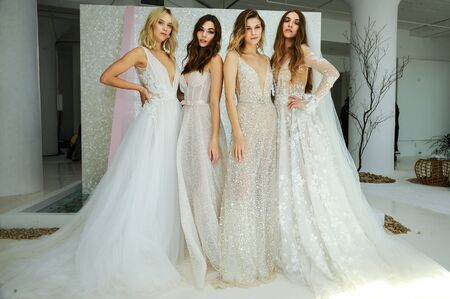 NEW YORK, NY - OCTOBER 6: Models posing during the Galia Lahav Fall 2020 Bridal Presentation on OCTOBER 6, 2019 in New York City.