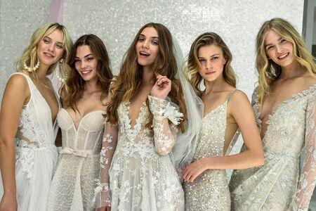 NEW YORK, NY - OCTOBER 6: Models posing during the Galia Lahav Fall 2020 Bridal Presentation on OCTOBER 6, 2019 in New York City. Sajtókép