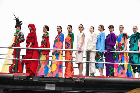 JAMAICA, NEW YORK - FEBRUARY 06: Models walk the runway finale during : Jessica Minh Anh's Runway on Runway Winter Fashion Show at DHL hub JFK Airport on February 06, 2020 in New York