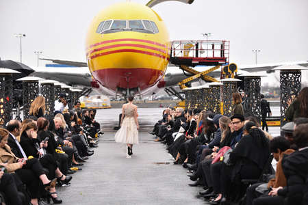 JAMAICA, NEW YORK - FEBRUARY 06: A model walks the runway for Portia and Scarlett during Jessica Minh Anh's Runway on Runway Winter Fashion Show at DHL hub in JFK Airport on February 06, 2020 in NY