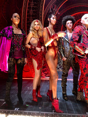NEW YORK, NEW YORK - SEPTEMBER 09: Models posing at the rehearsal before The Blonds x Moulin Rouge The Musical during New York Fashion Week: The Shows on September 09, 2019 in NYC.