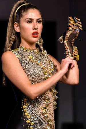 MIAMI BEACH, FL - JULY 12: A model walks the runway for CHAVEZ INC. at Art Hearts Fashion Swim/Resort 2019/20 at Faena Forum on July 12, 2019 in Miami Beach, FL