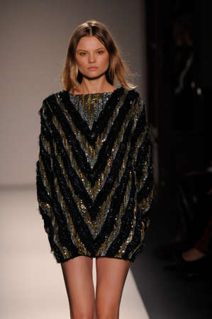 Model walks the runway at the Balmain FW 2010 collection presentation during Mercedes-Benz Fashion Week on Fall Winter  2010 in Paris, France