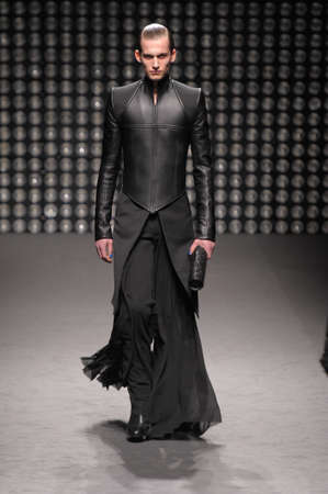 Model walks the runway at the Gareth Pugh F/W 2010 collection presentation during Mercedes-Benz Fashion Week on Fall/ Winter  2010 in Paris, France