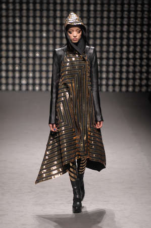 Model walks the runway at the Gareth Pugh FW 2010 collection presentation during Mercedes-Benz Fashion Week on Fall Winter  2010 in Paris, France
