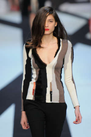 Model walks the runway at the Guy Laroche S/F 2010 collection presentation during Mercedes-Benz Fashion Week on Fall/ Winter  2010 in Paris, France