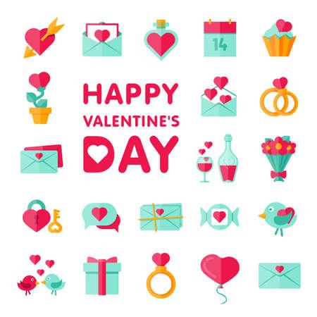 ramo de flores: iconos de tarjetas del día de San Valentín fijados en estilo minimalista plana