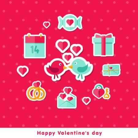 fourteen: Vector illustration. Happy Valentine day background in flat minimalistic style Illustration
