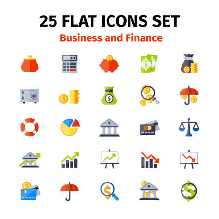 Business and finance icons set in flat minimalistic style Illustration