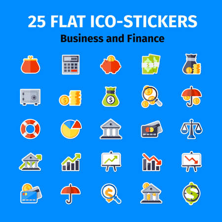 Business and finance icons set in flat minimalistic style Stock Vector - 52235718