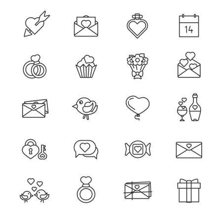 minimal: Valentine day set of minimal thin line icons. Illustration