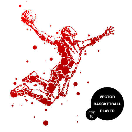 illustration of abstract basketball player in jump