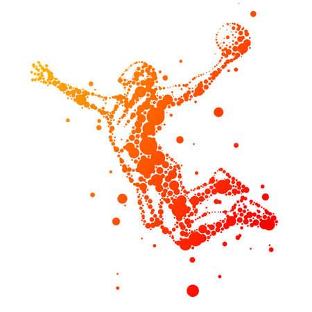 illustratie van abstracte basketbalspeler in sprong