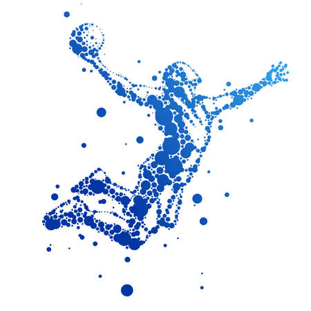 점프에 추상 농구 선수의 그림
