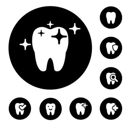 illustration of dental icons set in black simple Stock fotó - 52235584
