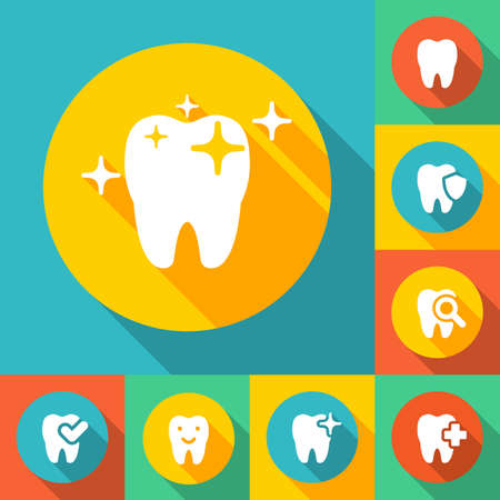 illustration of dental icons set in flat style Stock fotó - 52237252