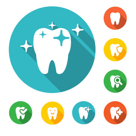 dental: illustration of dental icons set in flat style