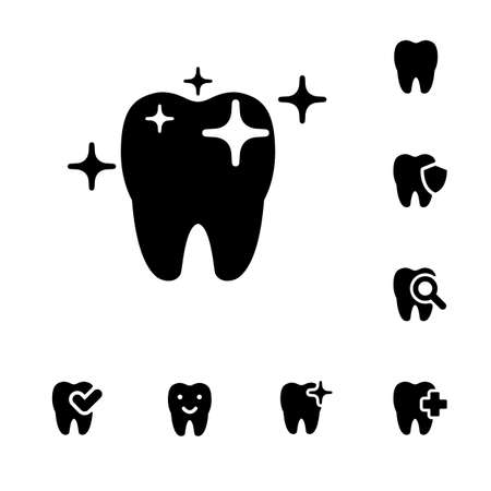 歯科アイコンのイラストはシンプルな黒で設定  イラスト・ベクター素材