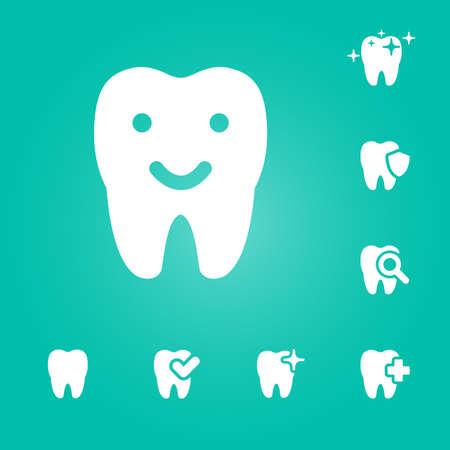 illustration of dental icons set in flat style Stock fotó - 52237301