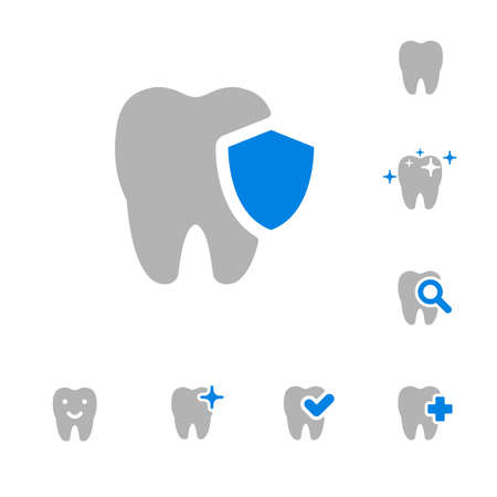 illustration of dental icons set in flat style Stock fotó - 52237312