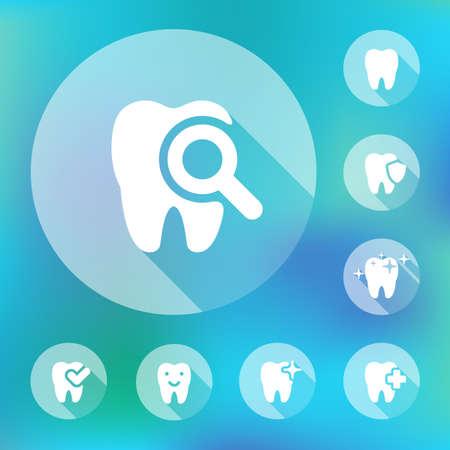 illustration of dental icons set in flat style Stock fotó - 52237304