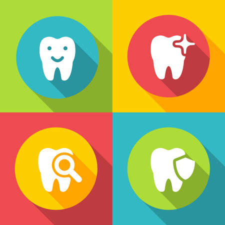 illustration of dental icons set in flat style