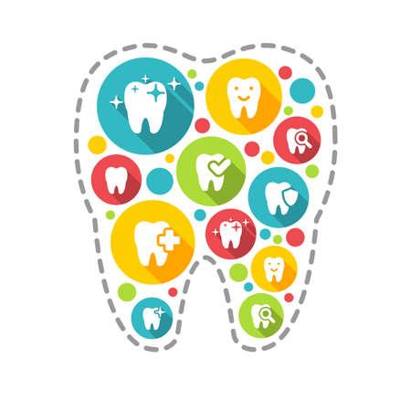 illustration of dental icons set in flat style Stock fotó - 52237310