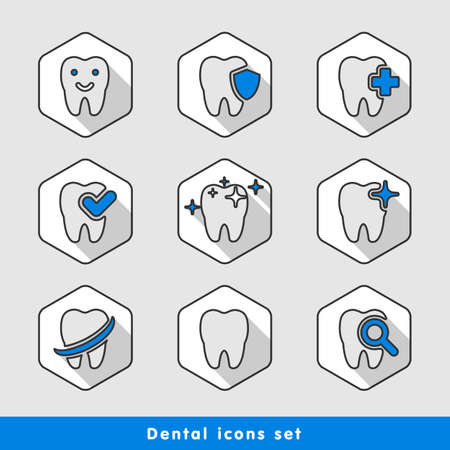 illustration of dental icons set in flat style Stock fotó - 52237009