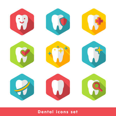 illustration of dental icons set in flat style Stock fotó - 52237007