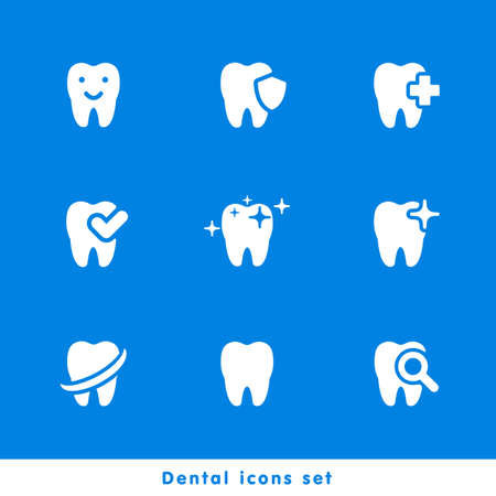 illustration of dental icons set in flat style Stock fotó - 52237010